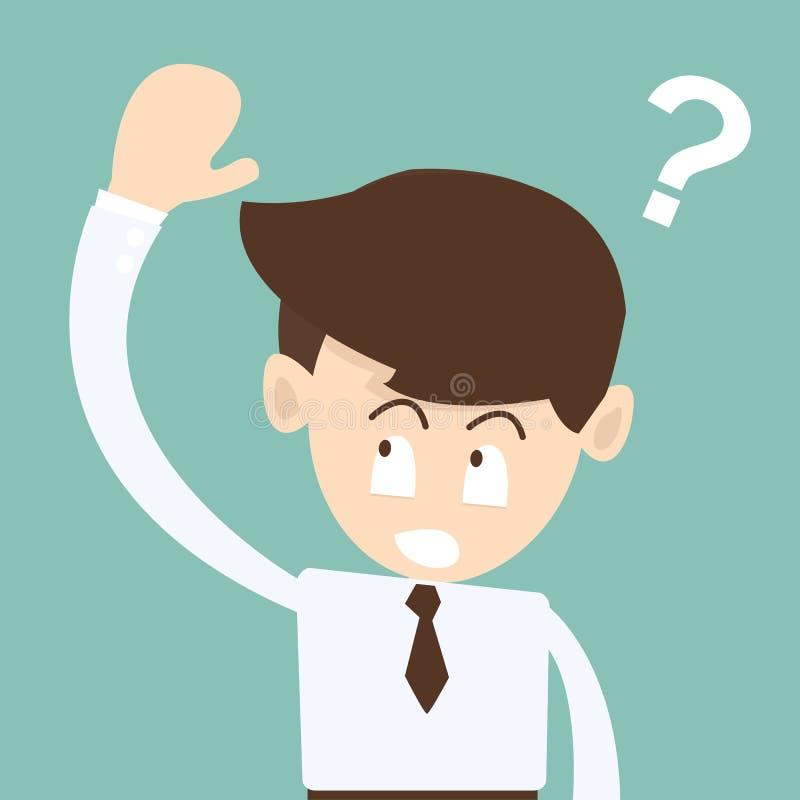Το χέρι επιχειρηματιών επάνω Ask εξετάζει - έννοια σημαδιών ερωτήσεων διανυσματική απεικόνιση