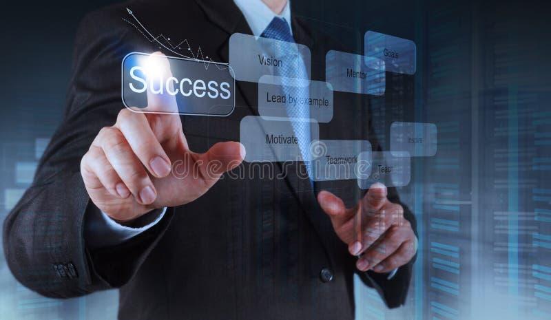 Το χέρι επιχειρηματιών παρουσιάζει διάγραμμα επιχειρησιακής επιτυχίας στοκ εικόνες