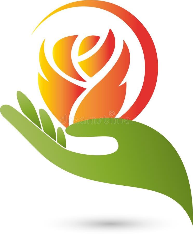 Το χέρι και το λουλούδι, αυξήθηκαν, αυξήθηκαν και λογότυπο δώρων ελεύθερη απεικόνιση δικαιώματος