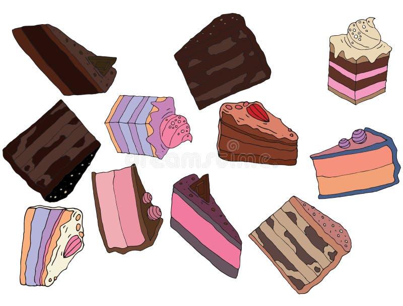 Το χέρι κινούμενων σχεδίων σύρει doodle τη χρωματισμένη σοκολάτα τέχνης καφέδων τροφίμων κέικ ελεύθερη απεικόνιση δικαιώματος