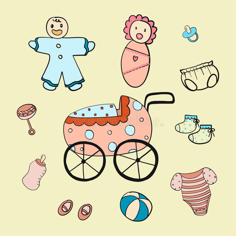 Το χέρι κινούμενων σχεδίων μωρών σύρει στοκ εικόνα με δικαίωμα ελεύθερης χρήσης