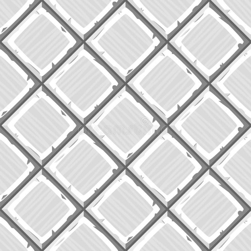 Το χέρι κινούμενων σχεδίων πνίγει την άσπρη παλαιά διαγώνια άνευ ραφής σύσταση κεραμιδιών διανυσματική απεικόνιση