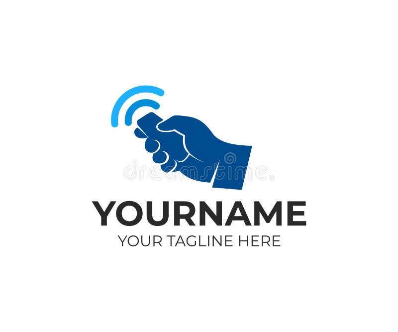 Το χέρι κρατά το μακρινό και ασύρματο σήμα, πρότυπο λογότυπων Τηλεχειρισμός από ένα έξυπνο σπίτι, συναγερμός αυτοκινήτων, ηλεκτρο απεικόνιση αποθεμάτων