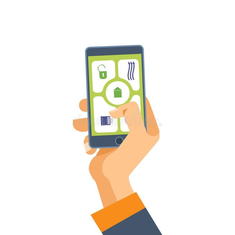 Το χέρι κρατά το τηλέφωνο Λογισμικό στο smartphone εφαρμογές κινητές ελεύθερη απεικόνιση δικαιώματος