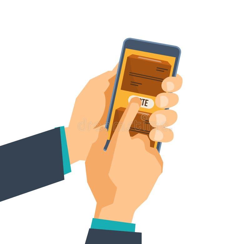 Το χέρι κρατά το τηλέφωνο, smartphone, με την εφαρμογή για την ψηφοφορία για την οθόνη διανυσματική απεικόνιση