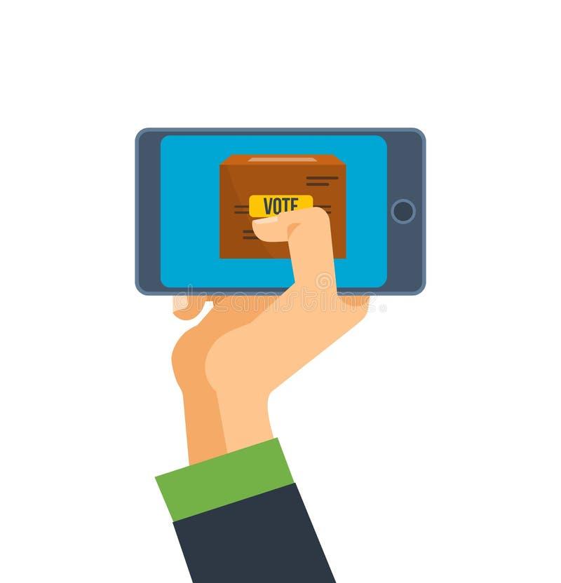 Το χέρι κρατά το τηλέφωνο, smartphone, με την εφαρμογή για την ψηφοφορία για την οθόνη απεικόνιση αποθεμάτων