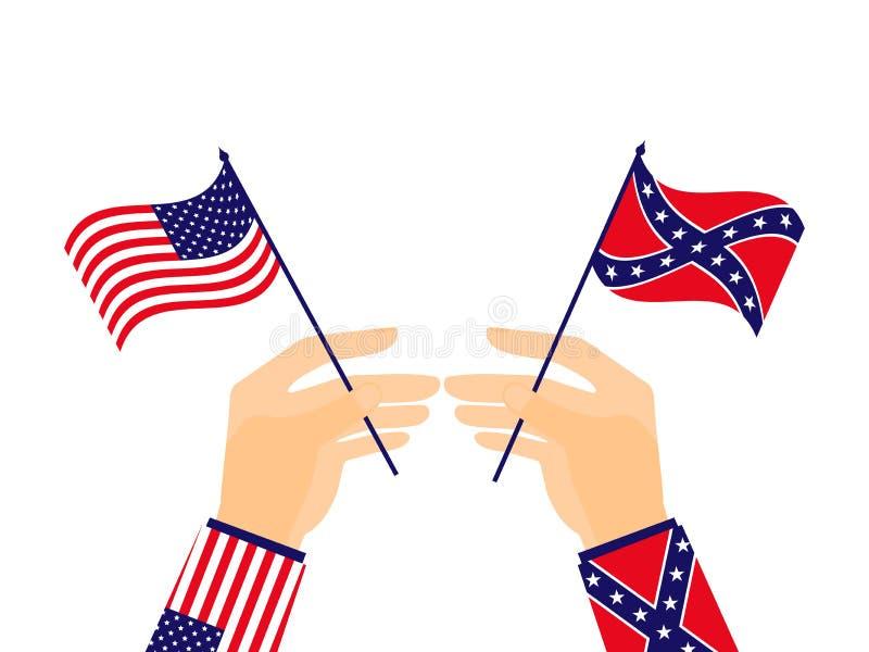 Το χέρι κρατά τη σημαία των Ηνωμένων Πολιτειών της Αμερικής και των συμμάχων διάνυσμα απεικόνιση αποθεμάτων