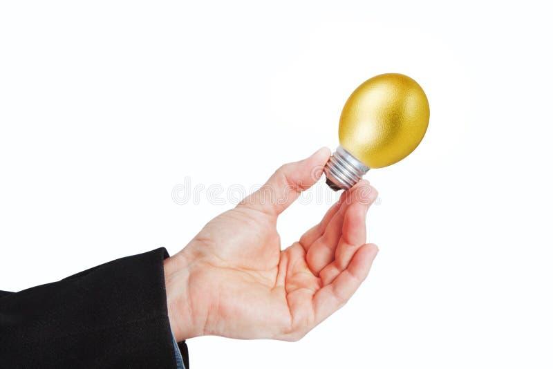 Το χέρι κρατά το χρυσό αυγό με ένα κομμάτι του ηλεκτρικού λαμπτήρα. στοκ φωτογραφίες με δικαίωμα ελεύθερης χρήσης