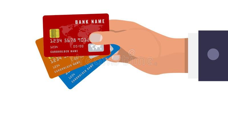 Το χέρι κρατά τρεις πιστωτικές κάρτες σε τρία διαφορετικά χρώματα Κόκκινα, πορτοκαλιά και μπλε χρώματα r ελεύθερη απεικόνιση δικαιώματος