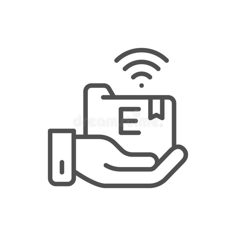 Το χέρι κρατά το φάκελλο ε-εκμάθησης, σε απευθείας σύνδεση εικονίδιο γραμμών εκπαίδευσης ελεύθερη απεικόνιση δικαιώματος