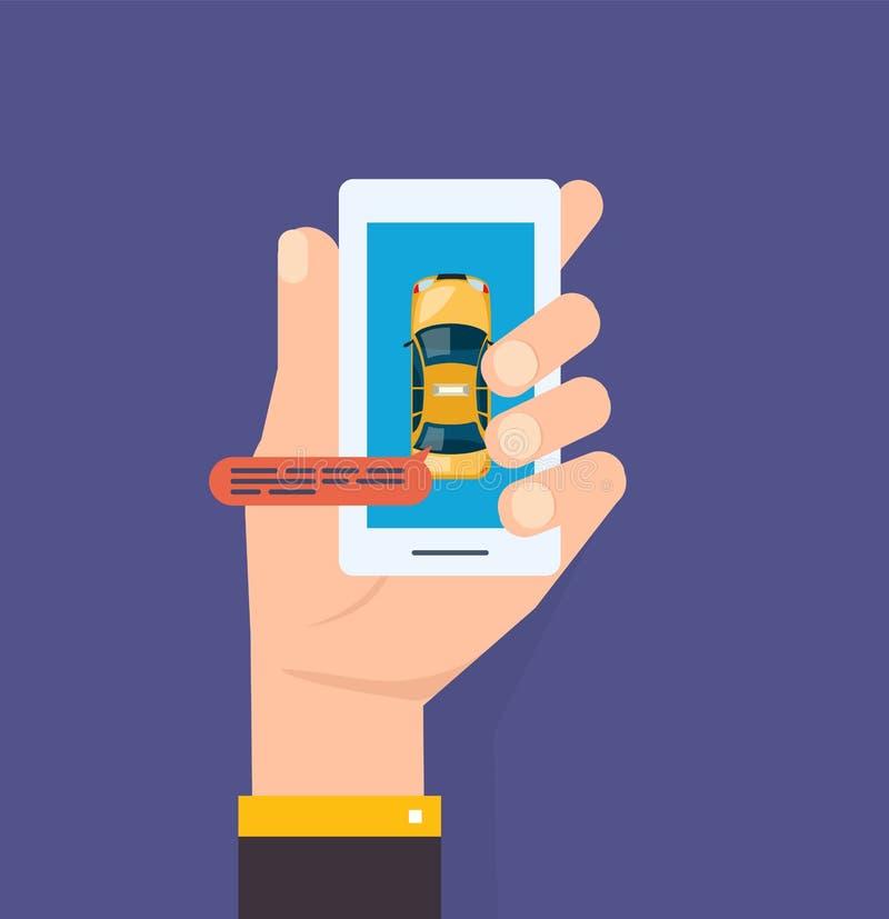 Το χέρι κρατά το smartphone Κλήση υπηρεσιών ταξί Smartphone και αφή ελεύθερη απεικόνιση δικαιώματος