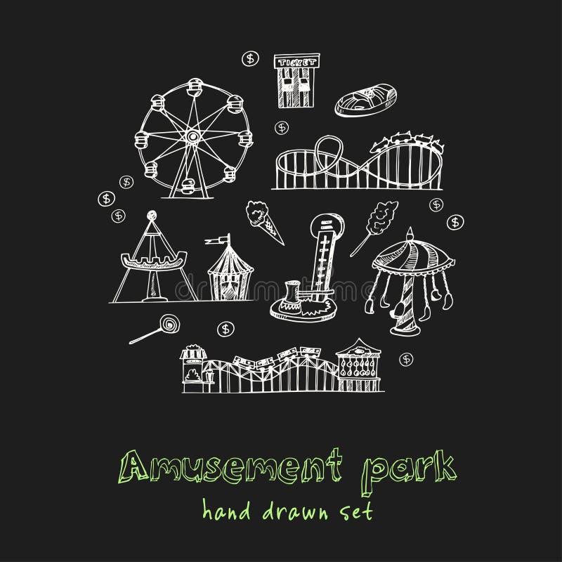 Το χέρι λούνα παρκ που σύρθηκε doodle έθεσε σκίτσα Διανυσματική απεικόνιση για το σχέδιο και το προϊόν συσκευασιών Συλλογή συμβόλ απεικόνιση αποθεμάτων