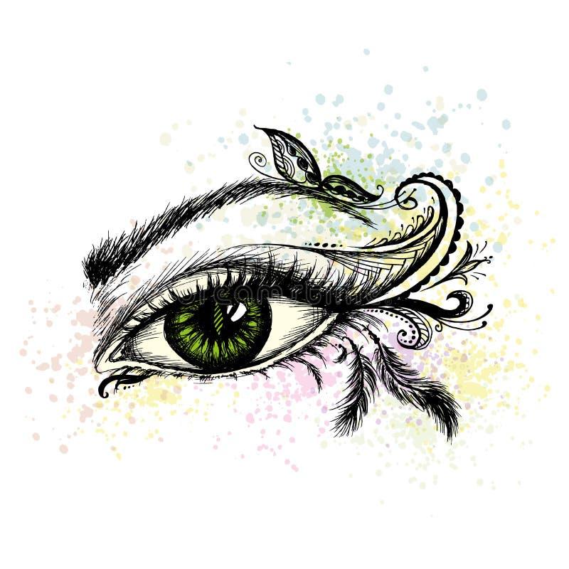 Το χέρι ματιών που σύρεται με το doodle αποτελεί απεικόνιση αποθεμάτων