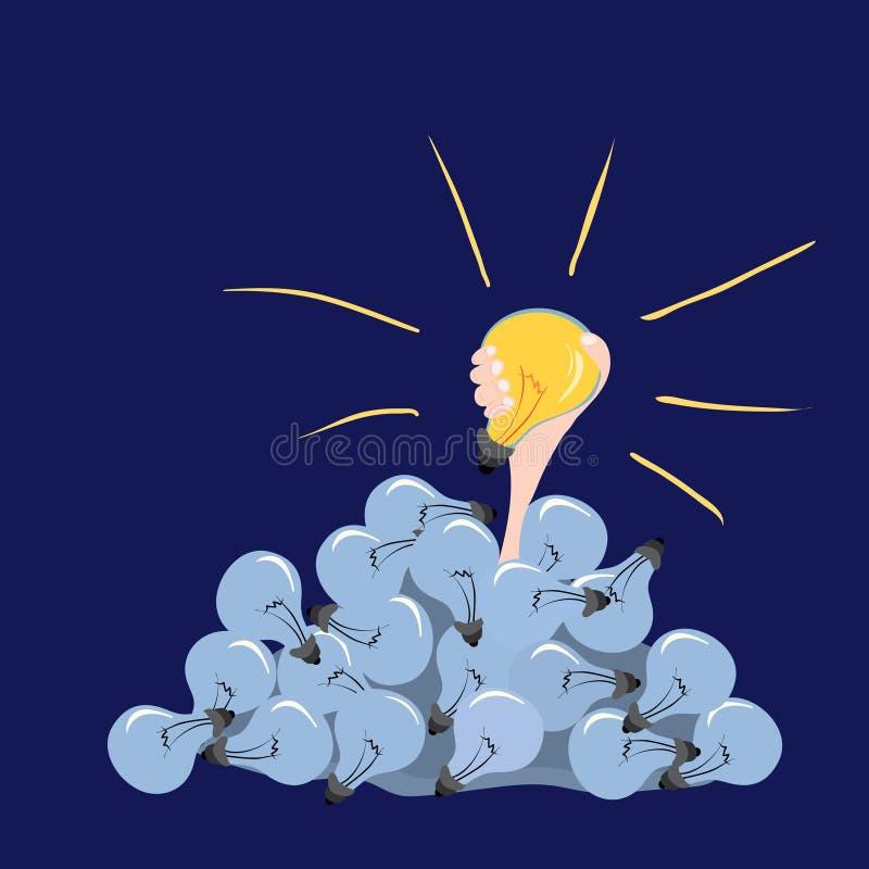 Το χέρι με μια καίγοντας λάμπα φωτός σηκώνεται από ένα βουνό της μη-εκτέλεσης/ξεκινά τις δημιουργικές ιδέες διανυσματική απεικόνιση