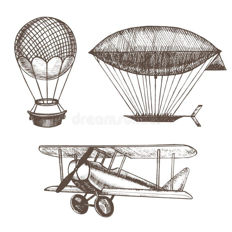Το χέρι μπαλονιών και αεροσκαφών αέρα σύρει το σκίτσο διάνυσμα διανυσματική απεικόνιση