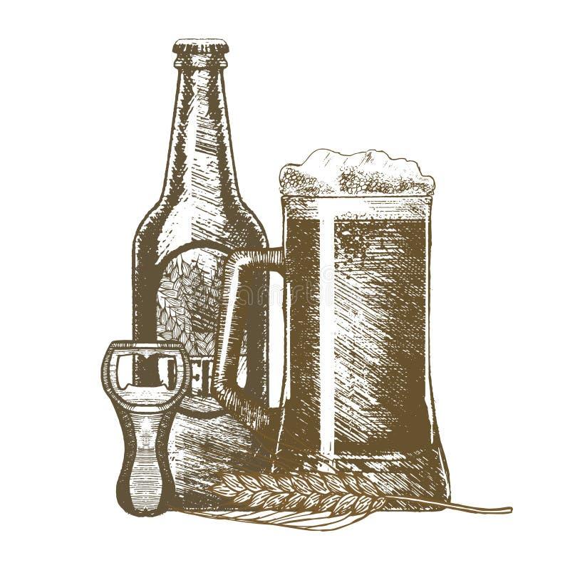 Το χέρι μπύρας σύρει το σκίτσο διάνυσμα ελεύθερη απεικόνιση δικαιώματος