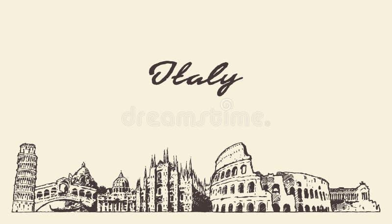 Το χέρι οριζόντων της Ιταλίας σύρει το διανυσματικό σκίτσο απεικόνισης ελεύθερη απεικόνιση δικαιώματος