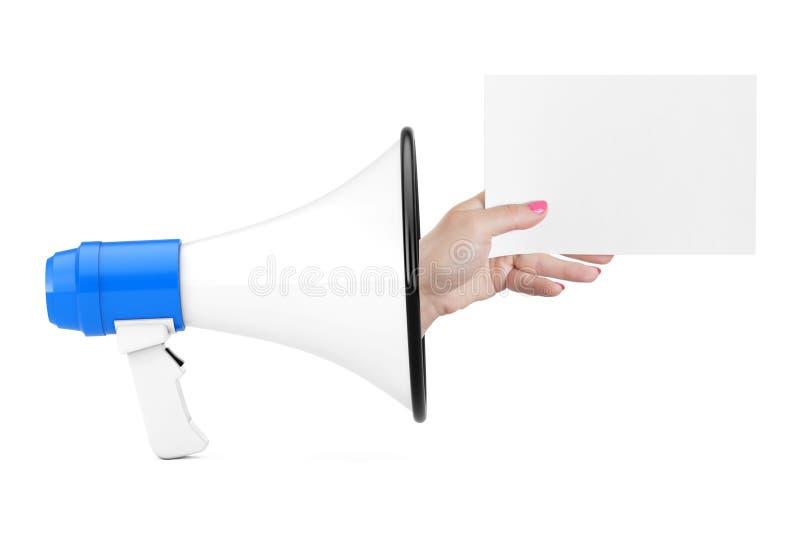 Το χέρι παρουσιάζει κενό έγγραφο από Megaphone τρισδιάστατη απόδοση στοκ εικόνα