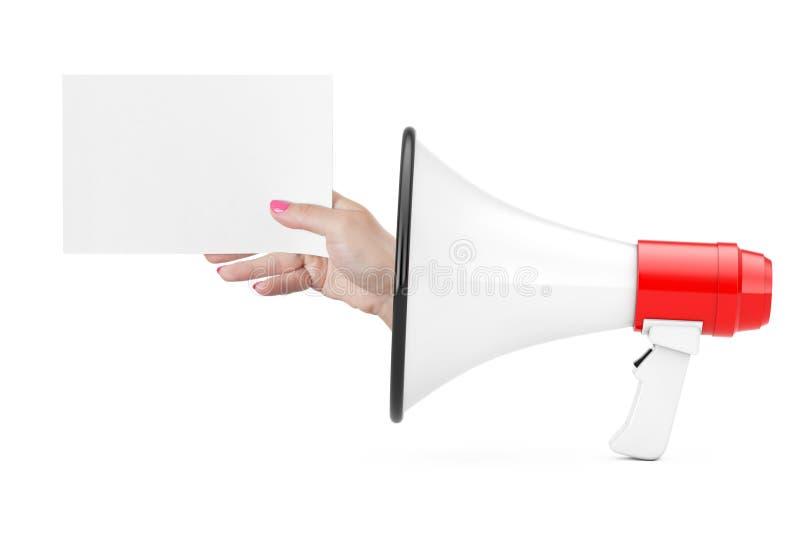 Το χέρι παρουσιάζει κενό έγγραφο από Megaphone τρισδιάστατη απόδοση στοκ εικόνα με δικαίωμα ελεύθερης χρήσης