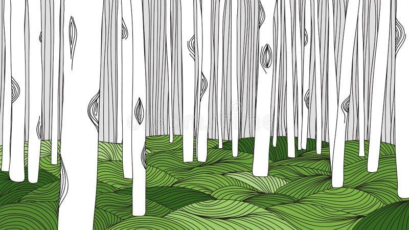 Το χέρι περιλήψεων δασών και λιβαδιών σύρει διανυσματική απεικόνιση