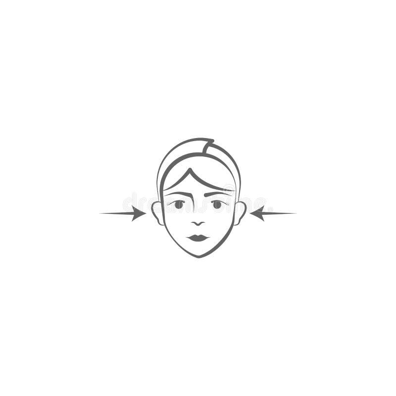 Το χέρι πλαστικής χειρουργικής σύρει το εικονίδιο Στοιχεία του προσώπου και του ανυψωτικού εικονιδίου απεικόνισης σωμάτων Τα σημά απεικόνιση αποθεμάτων