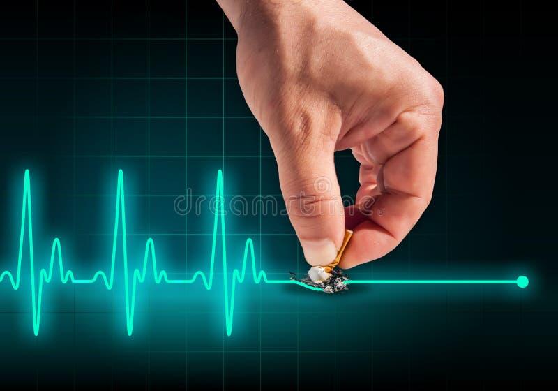 Το χέρι που βάζει έξω το τσιγάρο στην καρδιά κτύπησε τη γραμμή διανυσματική απεικόνιση