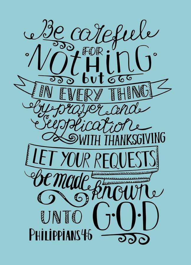 Το χέρι που γράφει να μην είναι ανήσυχο για τίποτα, αλλά άφησε τα αιτήματά σας στο Θεό ελεύθερη απεικόνιση δικαιώματος