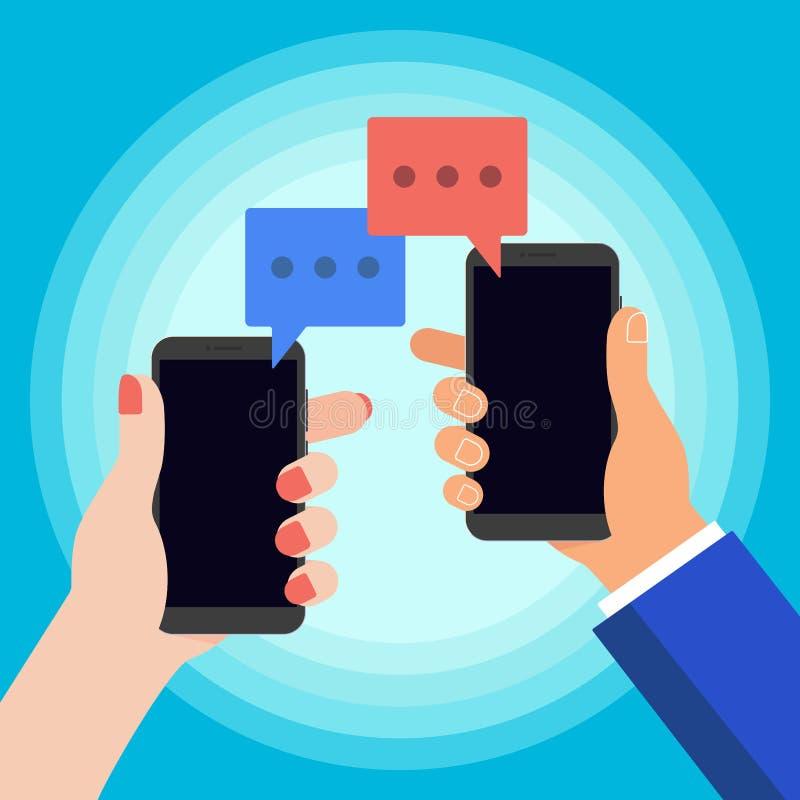 Το χέρι που κρατά το μαύρο κινητό τηλέφωνο με την κόκκινη συνομιλία βράζει στην οθόνη που απομονώνεται στο υπόβαθρο απεικόνιση αποθεμάτων