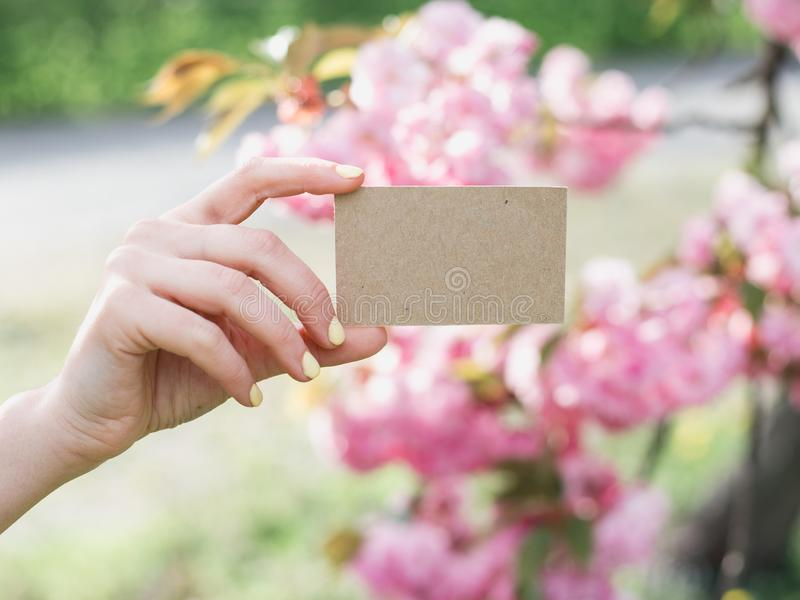 Το χέρι που κρατά μια κάρτα επιχειρησιακής επίσκεψης τεχνών, δώρο, εισιτήριο, πέρασμα, παρουσιάζει κοντά επάνω στο υπόβαθρο φύσης στοκ φωτογραφία