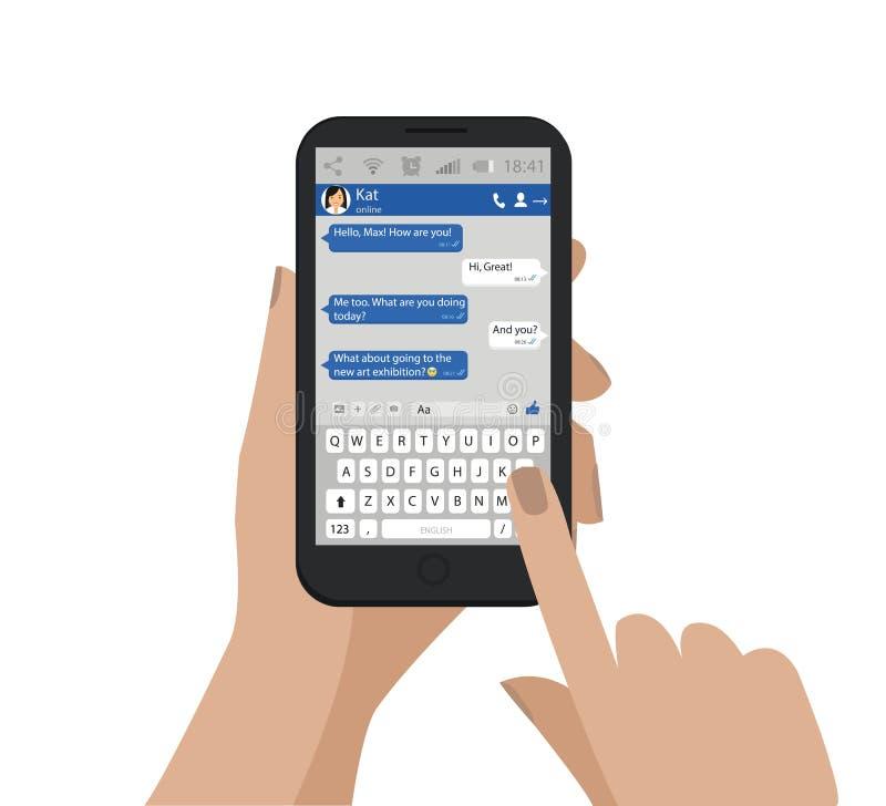 Το χέρι που κρατά το κινητό τηλέφωνο και στέλνει το μήνυμα επίσης corel σύρετε το διάνυσμα απεικόνισης Συνομιλία Smartphone, διάλ απεικόνιση αποθεμάτων