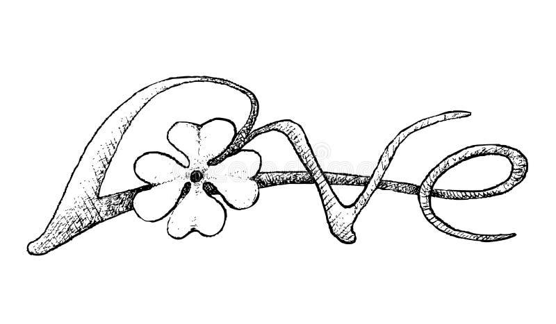 Το χέρι που σύρεται τεσσάρων τριφυλλιών φύλλων υπογράφει Με αγάπη απεικόνιση αποθεμάτων