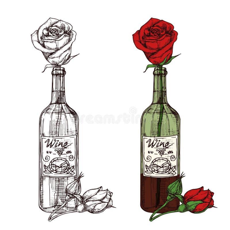 Το χέρι που σύρθηκε σκιαγραφημένος αυξήθηκε στη διανυσματική απεικόνιση μπουκαλιών κρασιού απεικόνιση αποθεμάτων