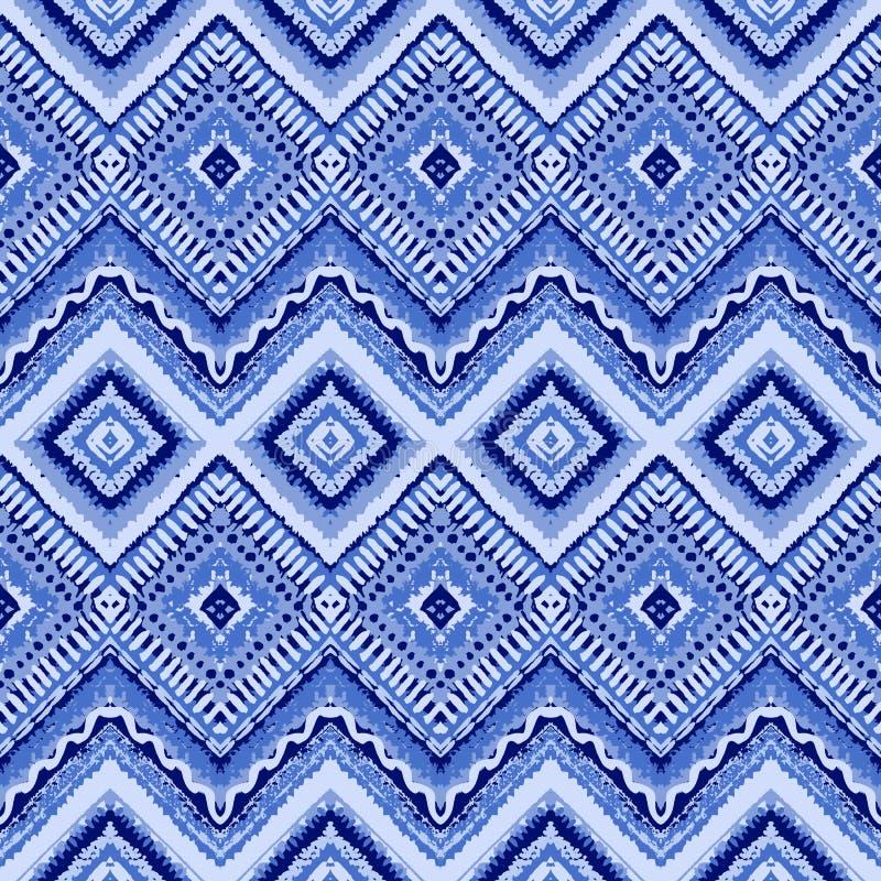 Το χέρι που σύρθηκε σχέδιο χρωμάτισε το άνευ ραφής μπλε διάνυσμα διανυσματική απεικόνιση