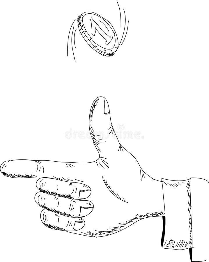 Το χέρι ρίχνει ένα νόμισμα επάνω διανυσματική απεικόνιση