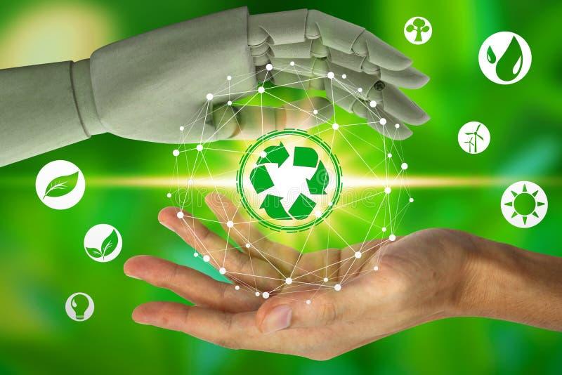 Το χέρι ρομπότ προστατεύει και ανθρώπινη εκμετάλλευση χεριών με τα ειΠστοκ φωτογραφία με δικαίωμα ελεύθερης χρήσης