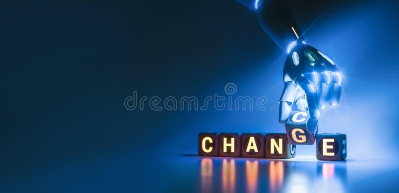 Το χέρι ρομπότ Cyborg αλλάζει τον κύβο κειμένων από την αλλαγή στην πιθανότητα - έννοια AI ελεύθερη απεικόνιση δικαιώματος