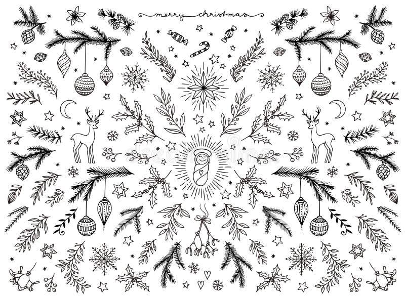 Το χέρι σκιαγράφησε τα floral στοιχεία σχεδίου για τα Χριστούγεννα ελεύθερη απεικόνιση δικαιώματος