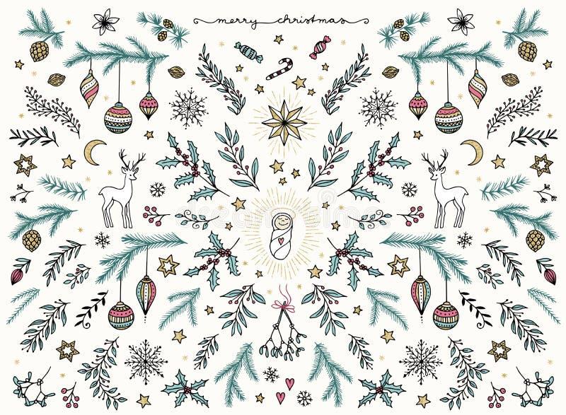 Το χέρι σκιαγράφησε τα floral στοιχεία σχεδίου για τα Χριστούγεννα διανυσματική απεικόνιση