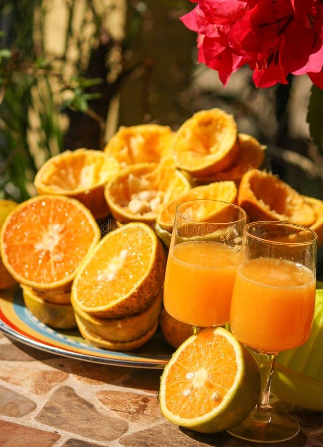 Το χέρι συμπίεσε την αναμονή χυμού από πορτοκάλι για να είναι Savored στοκ εικόνα με δικαίωμα ελεύθερης χρήσης