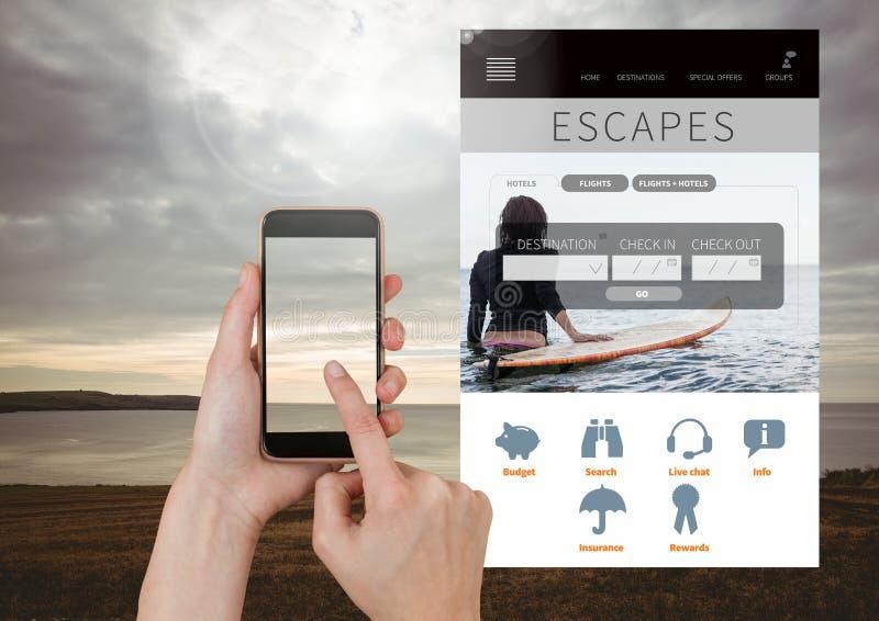 Το χέρι σχετικά με το κινητό τηλέφωνο δραπετεύει App σπασιμάτων διακοπών τη διεπαφή με τη θάλασσα στοκ εικόνα