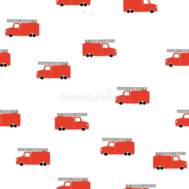 Το χέρι σύρει ένα άνευ ραφής σχέδιο πυροσβεστικών οχημάτων Διανυσματικό αγορίστικο υπόβαθρο στο Σκανδιναβικό ύφος απεικόνιση αποθεμάτων