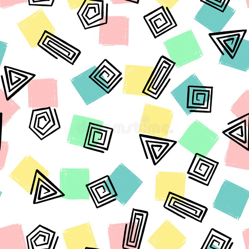 Το χέρι σύρει το γεωμετρικό σπειροειδές άνευ ραφής σχέδιο μορφών Διανυσματικό ατελείωτο υπόβαθρο των τριγώνων, τετράγωνα, κύκλοι απεικόνιση αποθεμάτων