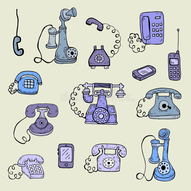 Το χέρι σύρει το διανυσματικό σύνολο τηλεφωνικού σκίτσου απεικόνιση αποθεμάτων