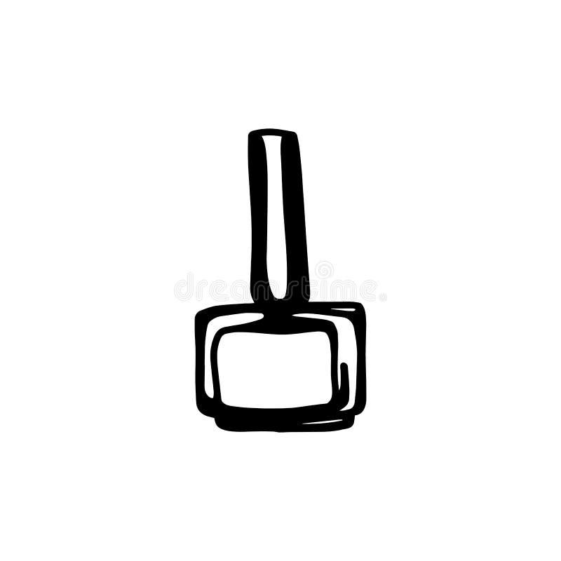 Το χέρι σύρει το πολωνικό εικονίδιο μπουκαλιών καρφιών Μαύρη πολωνική σκιαγραφία καρφιών που απομονώνεται στο άσπρο υπόβαθρο ελεύθερη απεικόνιση δικαιώματος