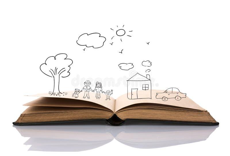 Το χέρι σύρει στο ανοικτό βιβλίο της καλής οικογένειας απεικόνιση αποθεμάτων