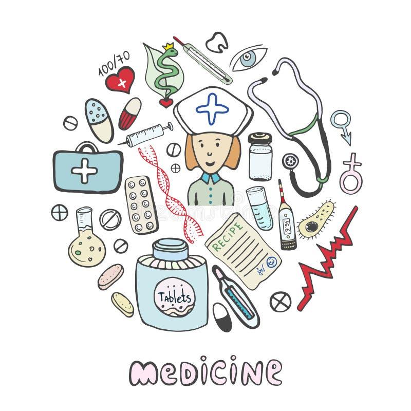 Το χέρι σύρει τα εικονίδια ιατρικής σκίτσων καθορισμένα Ιατρική και συλλογή υγειονομικής περίθαλψης απεικόνιση αποθεμάτων
