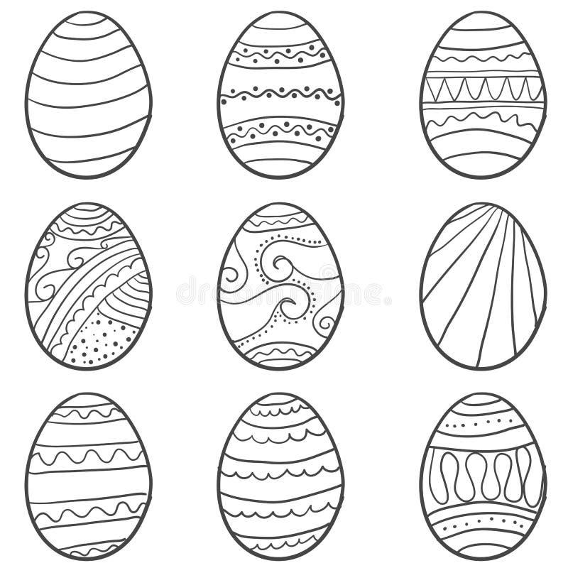 Το χέρι σύρει το αυγό Πάσχας doodle έθεσε διανυσματική απεικόνιση