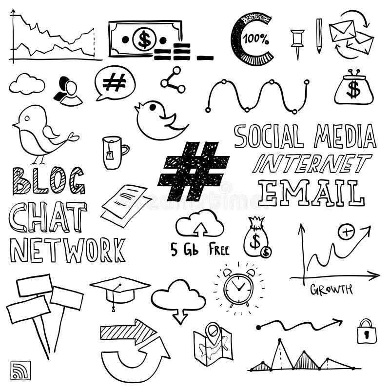 Το χέρι σύρει το κοινωνικά σημάδι και το σύμβολο μέσων doodles διανυσματική απεικόνιση