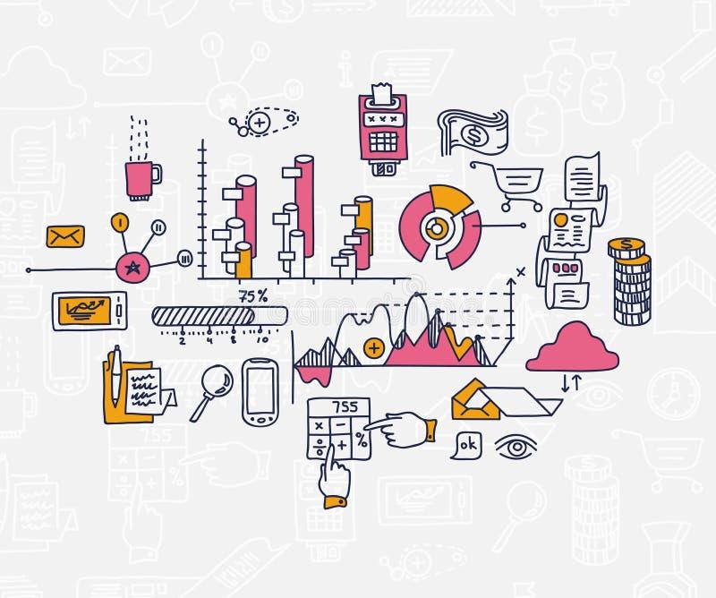 Το χέρι σύρει doodle τις αποδοχές analytics επιχειρησιακής χρηματοδότησης τραπεζών στοιχείων ελεύθερη απεικόνιση δικαιώματος