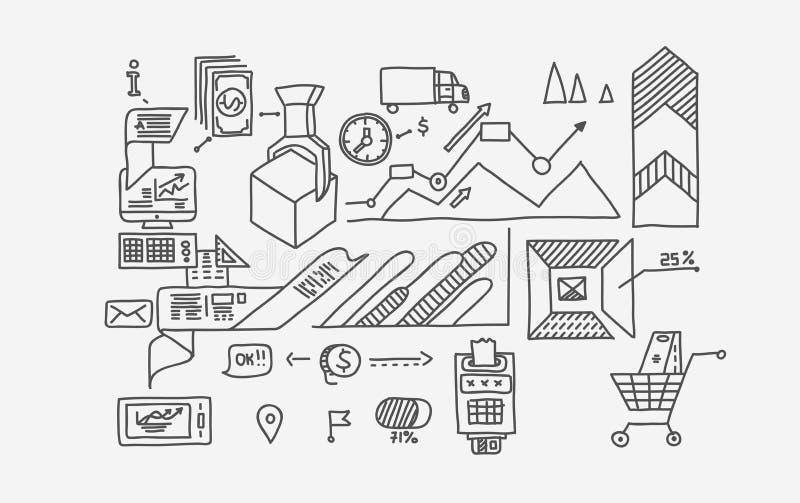Το χέρι σύρει doodle τις αποδοχές analytics επιχειρησιακής χρηματοδότησης τραπεζών στοιχείων διανυσματική απεικόνιση
